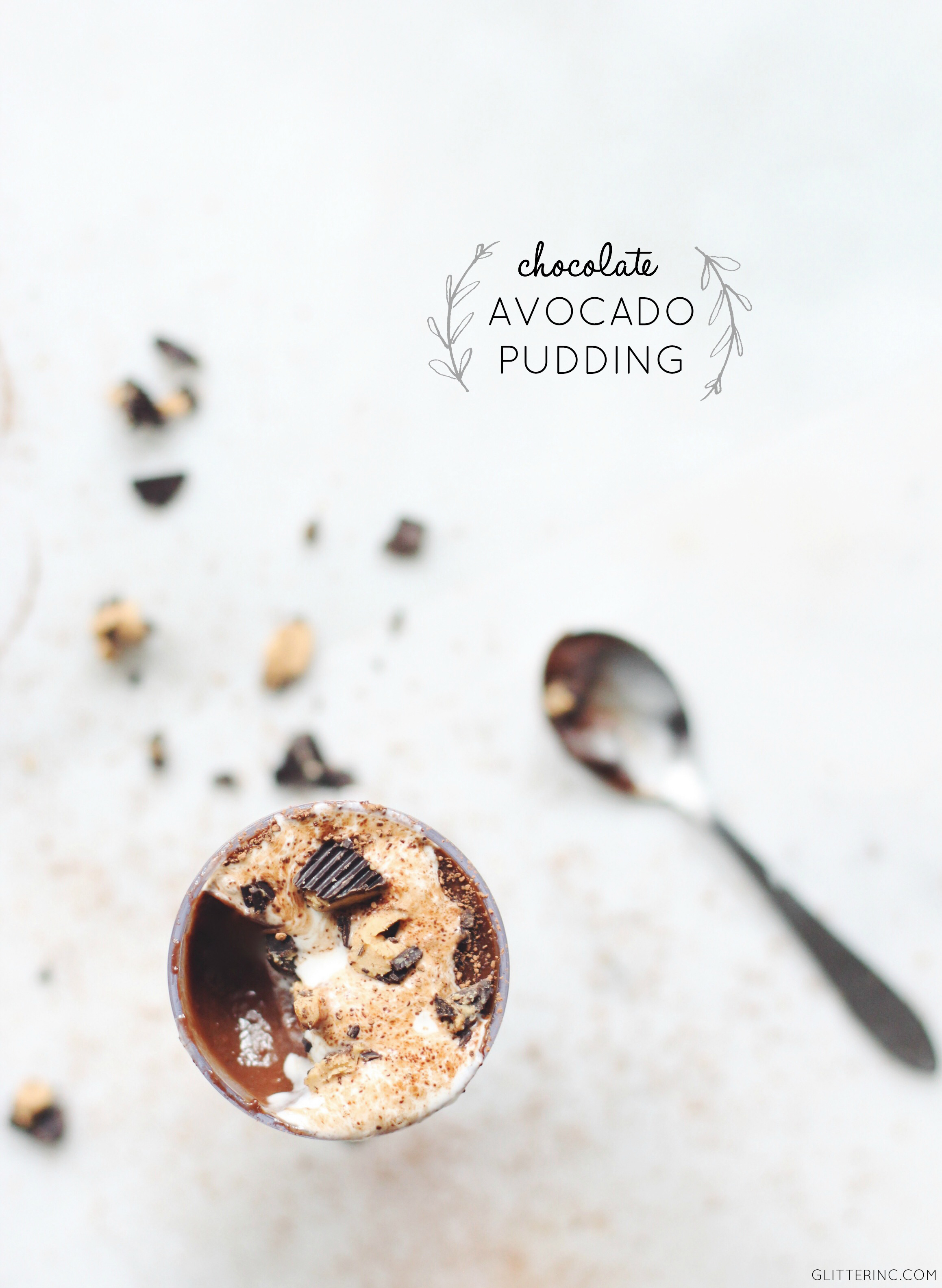 How to make chocolate (peanut butter cup) avocado pudding. Once you add avocado to your pudding, you'll never go back. | glitterinc.com | @glitterinc