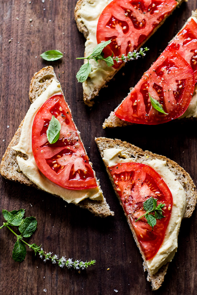 juicy tomato hummus tartines toast