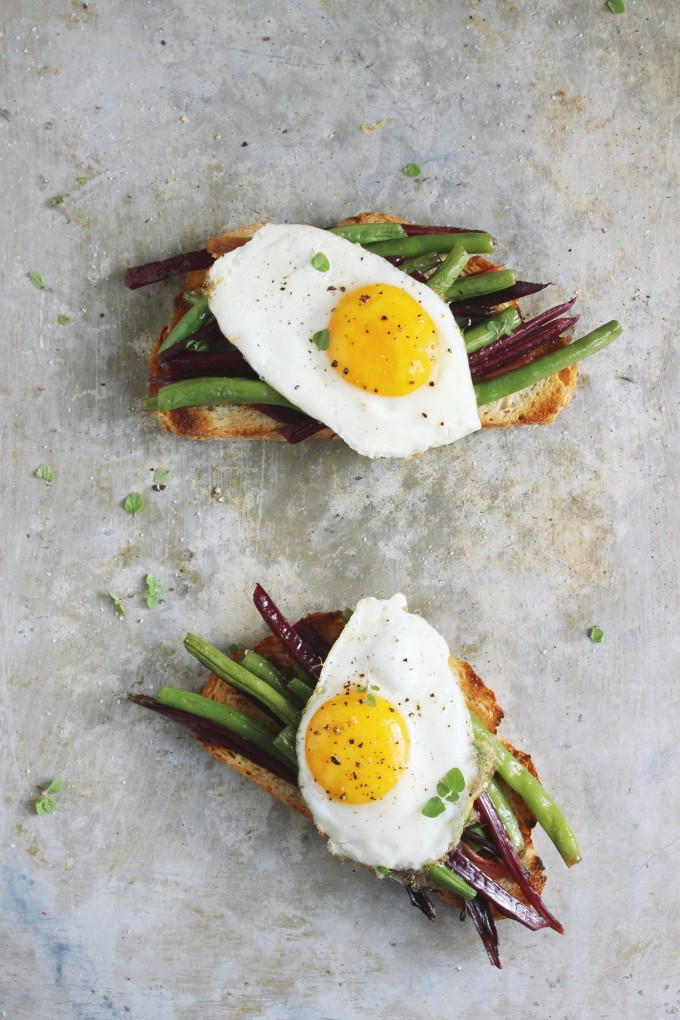 open-faced-egg-bean-sandwich-garlicky-beet-green-bean-toast