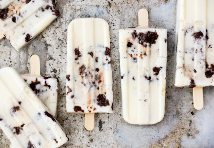 Vanilla Cream Brownie-Toffee Crunch Popsicles - Gluten-Free