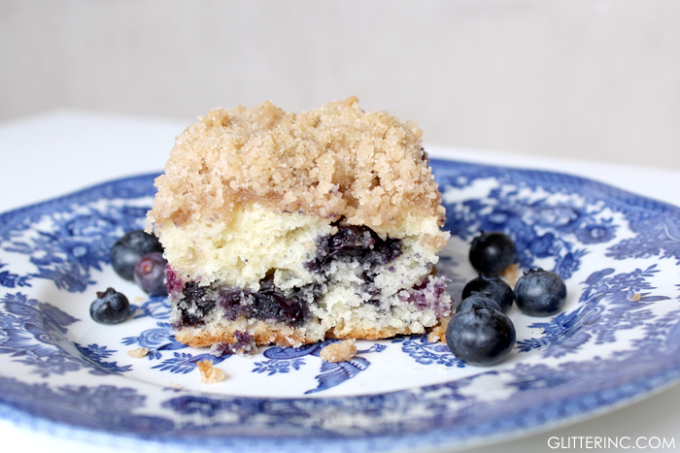 Pulled from my great grandmother's recipe book: blueberry buckle (basically a very fluffy blueberry crumb cake that you'll be making again and again.) | glitterinc.com | @glitterinc