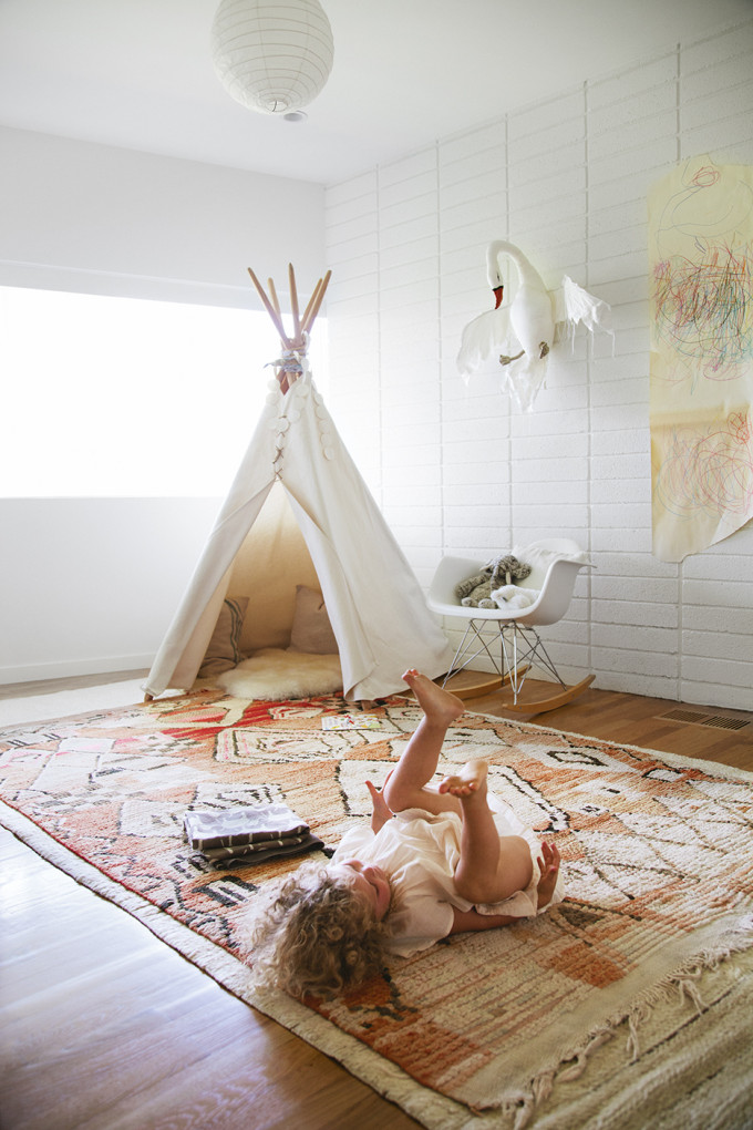 bohemian nursery and playroom - teepee and moroccan rug