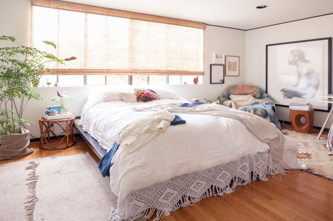 modern California family home - bohemian bedroom macrame bedding