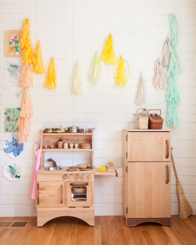 modern bohemian kitchen playroom