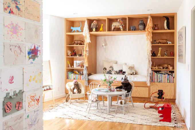modern bohemian nursery playroom coloring