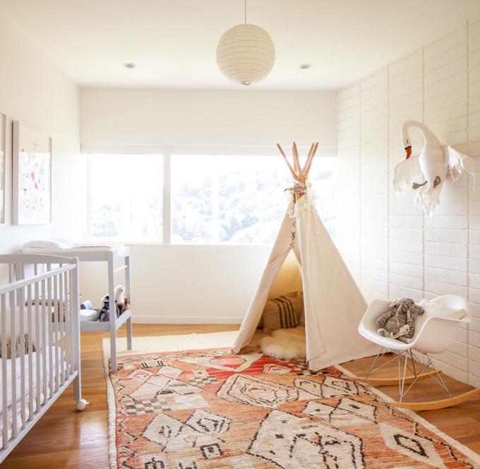 modern bohemian nursery rug teepee