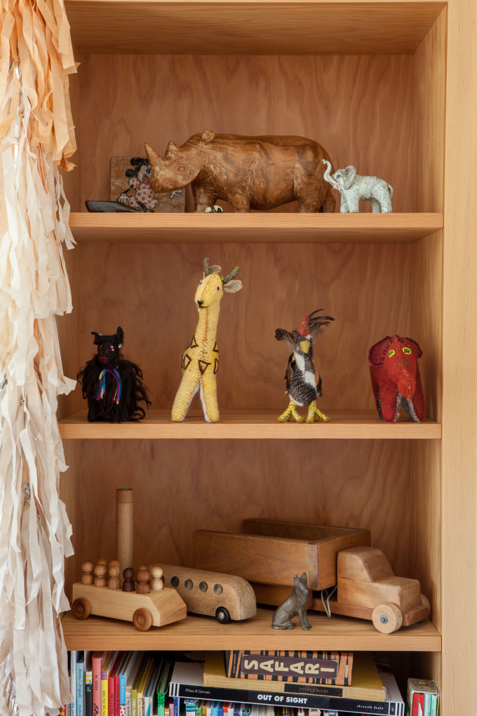 modern bohemian wood nursery playroom shelves