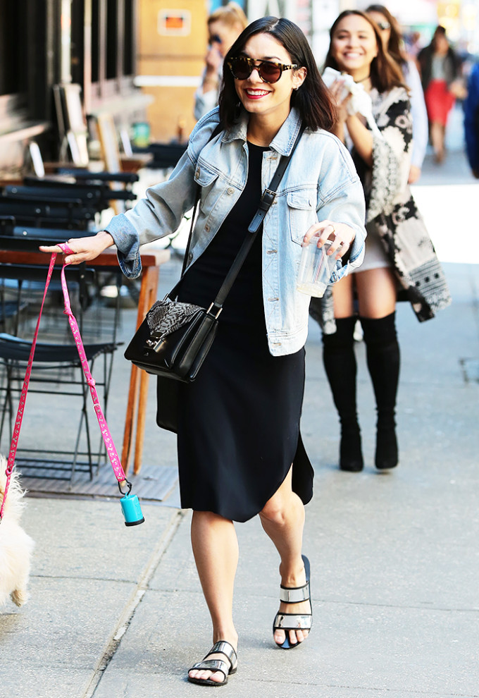 vanessa hudgens celebrity style guide - black midi dress denim jacket sandals