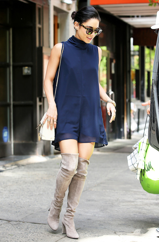 vanessa hudgens celebrity style guide - blue romper suede over-the-knee boots
