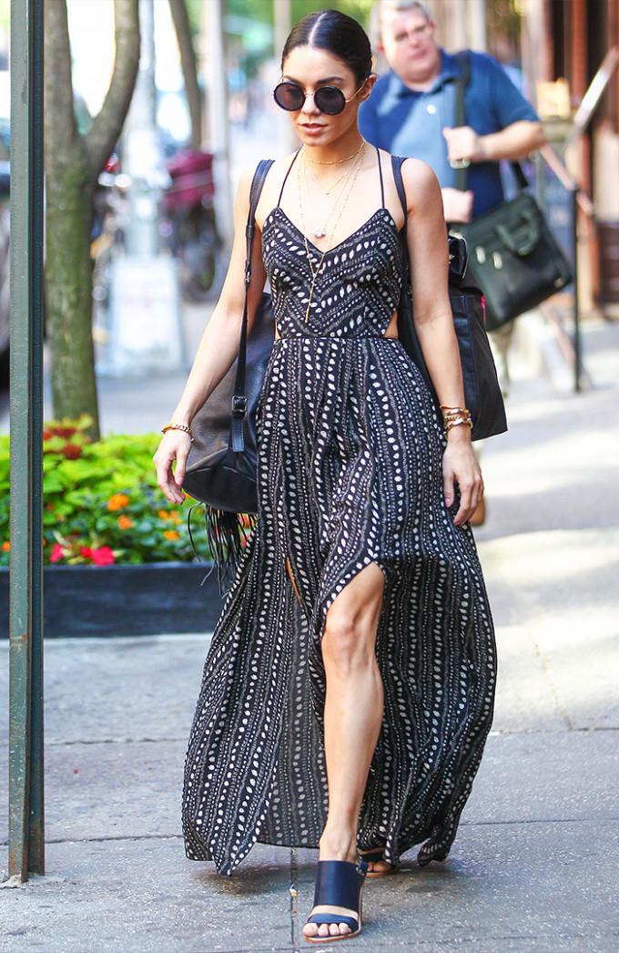 vanessa hudgens celebrity style guide - ecote urban outfitters maxi dress