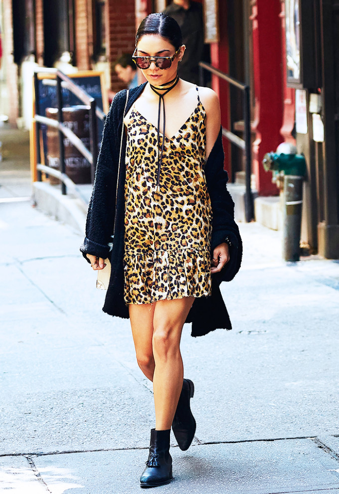 vanessa hudgens celebrity style guide - leopard mini dress black boots