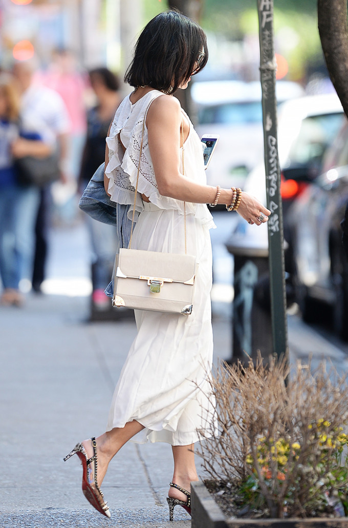 vanessa hudgens celebrity style guide - summer white lace crop top midi skirt
