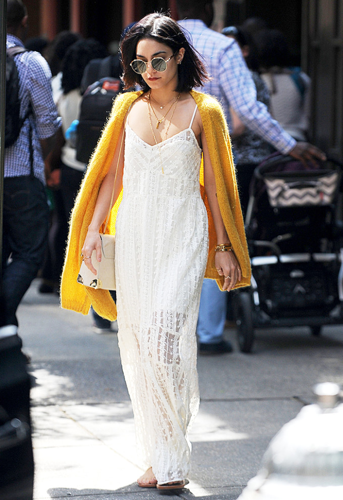 vanessa hudgens celebrity style guide - summer white lace maxi dress yellow cardigan