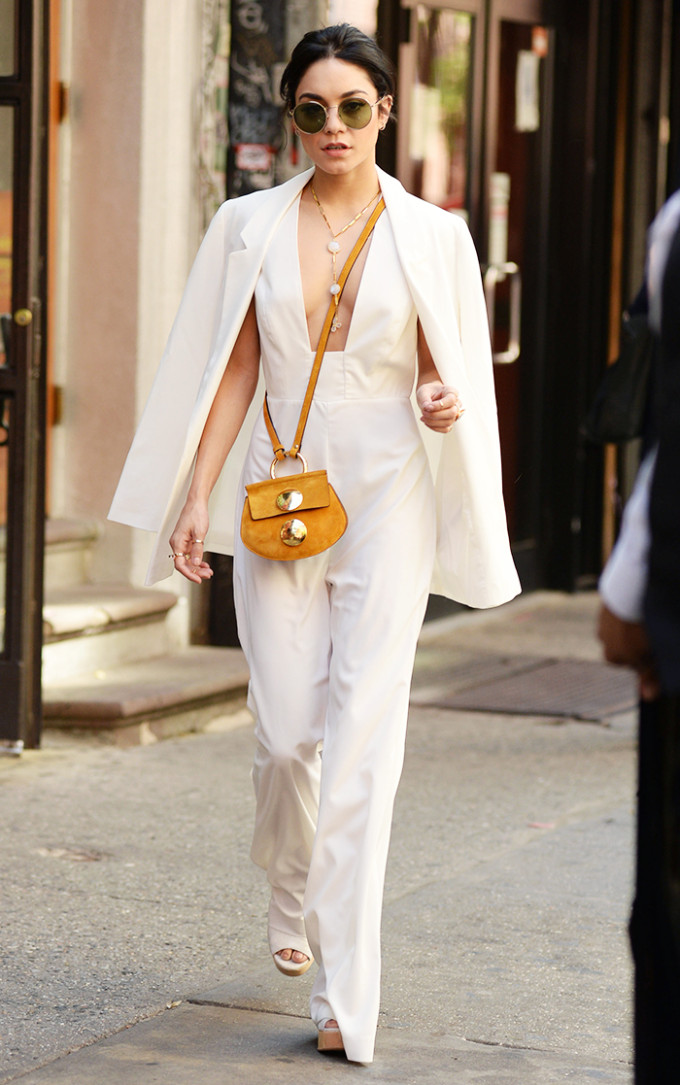 vanessa hudgens celebrity style guide - summer white pantsuit yellow bag purse