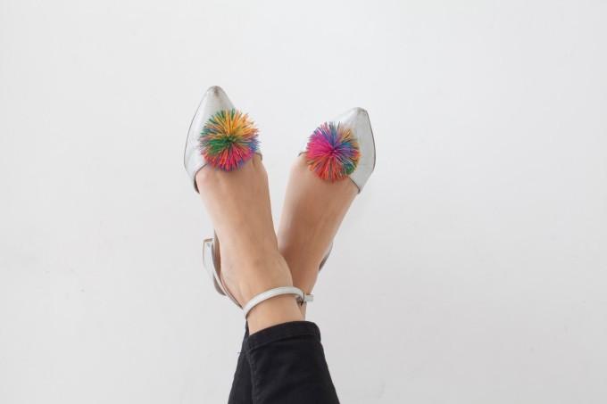 ASOS Midi-Heel Rainbow Pom Pom Silver Shoes