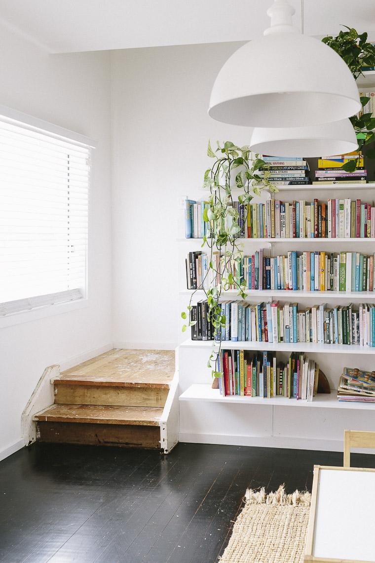 Rustic Bohemian Family Home - Living Room Books Shelves