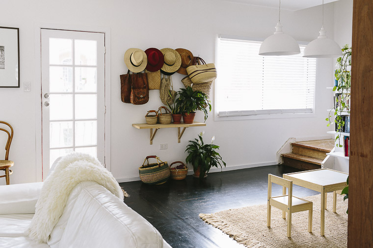 Rustic Bohemian Family Home - Living Room Entryway Hats Sheepskin