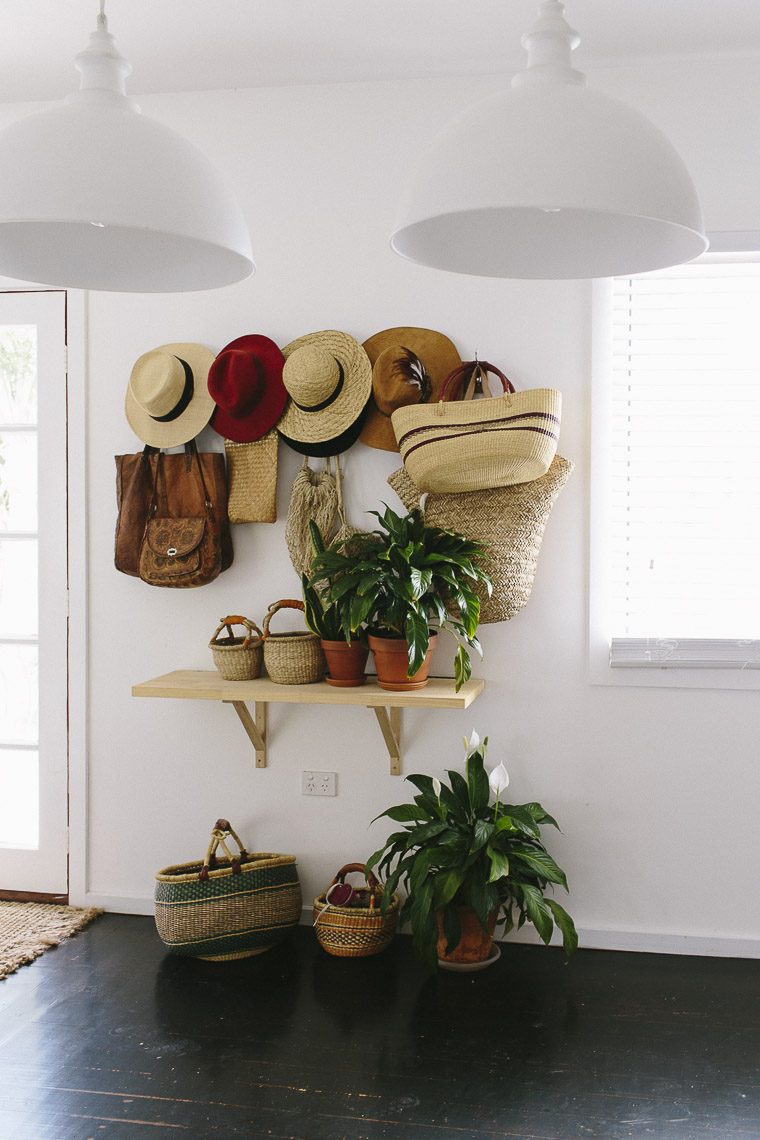 Rustic Bohemian Family Home - Living Room Entryway Plants Hats