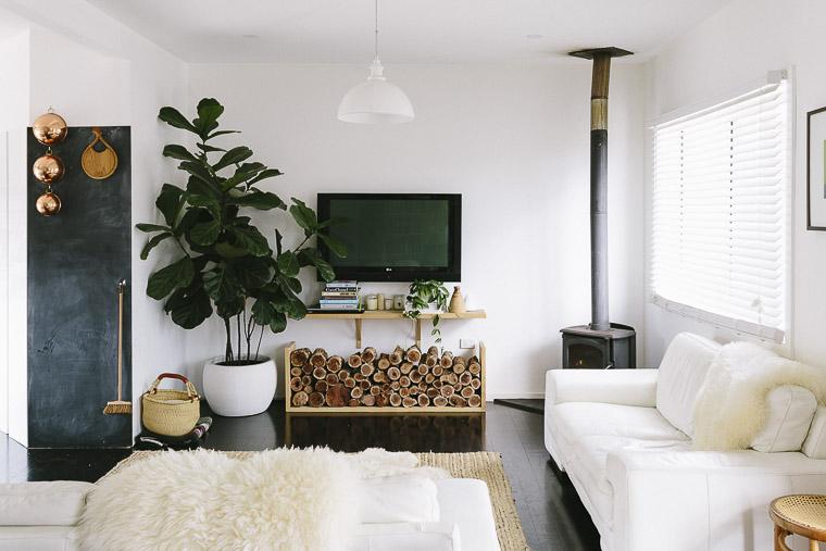 Rustic Bohemian Family Home - Living Room Jute Rug Fireplace Sheepskin