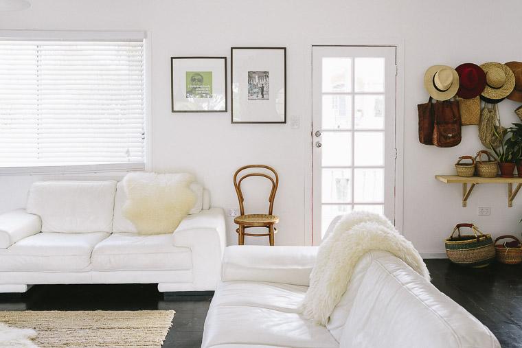Rustic Bohemian Family Home - Living Room White Sofas