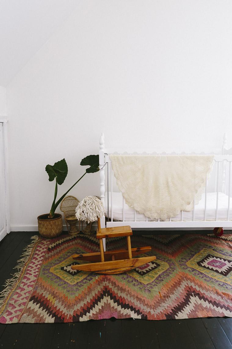 Rustic Bohemian Family Home - Nursery Crib Kilim
