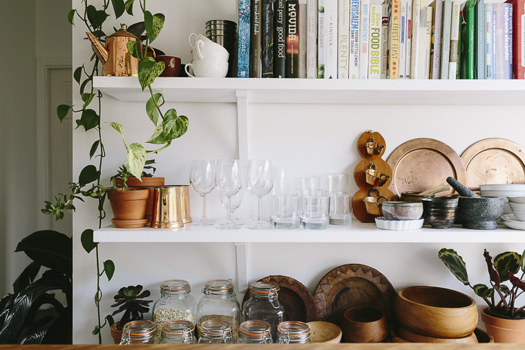 Rustic Bohemian Family Home - Subway Tiles White Kitchen Copper Shelves Bowls