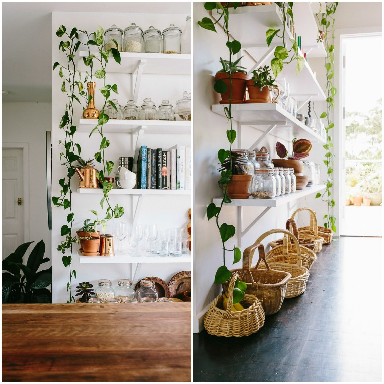 Rustic Bohemian Family Home - Subway Tiles White Kitchen Indoor Plants Shelves