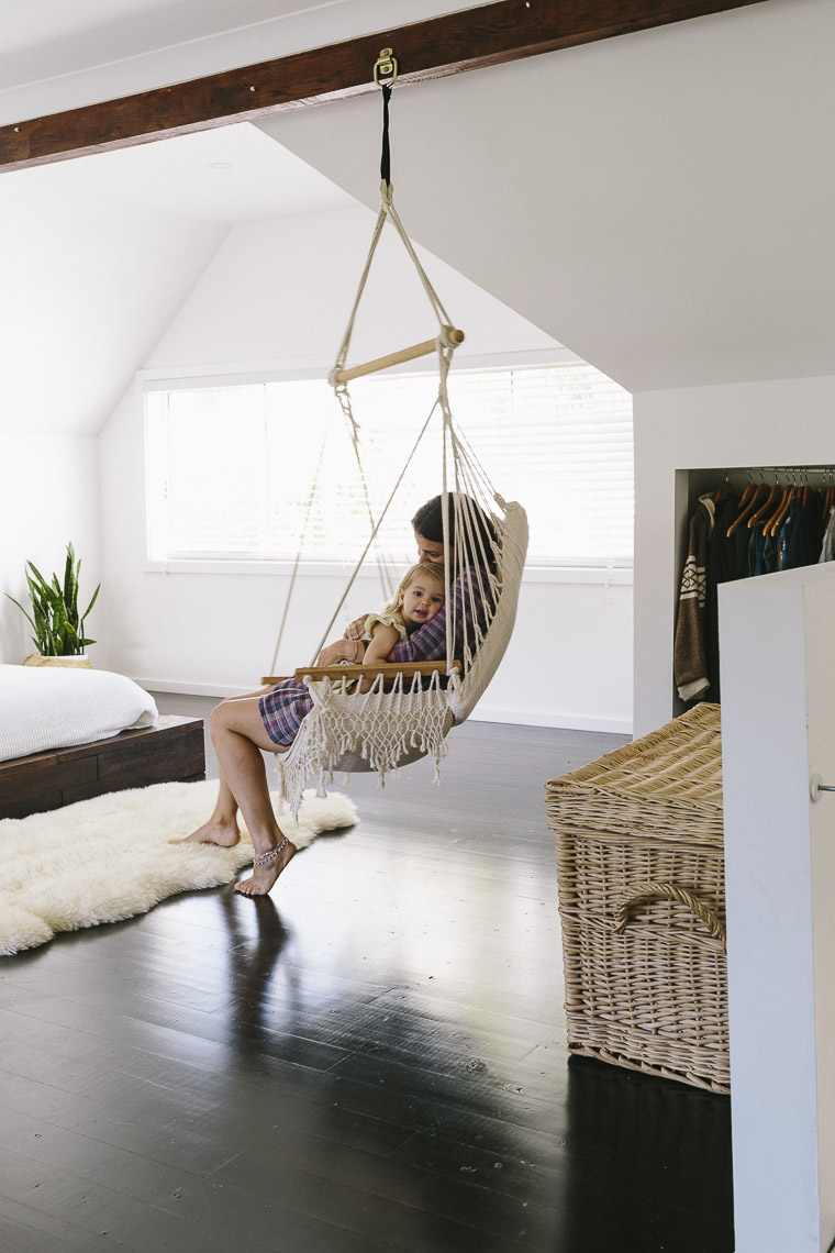 Sleek bohemian rustic family home glitter inc glitter inc - Hanging chair living room ...