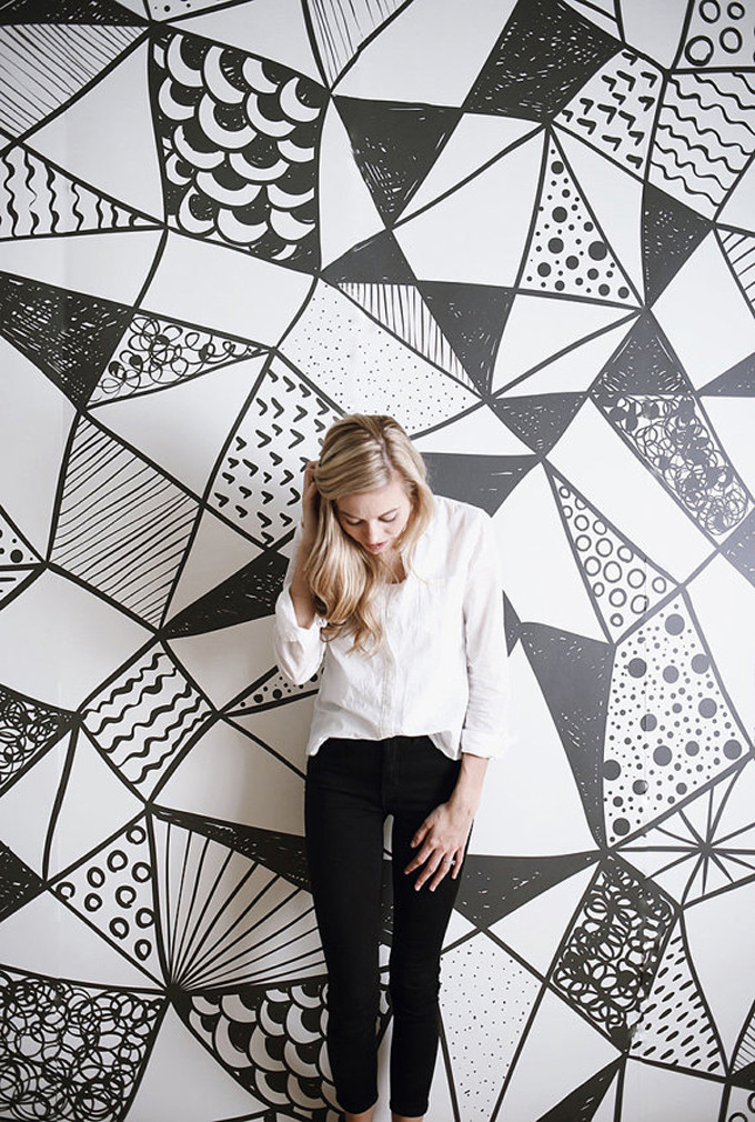 black-and-white-watercolor-mural-art-print-wallpaper