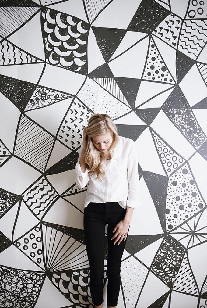 black-and-white-watercolor-mural-art-print-wallpaper