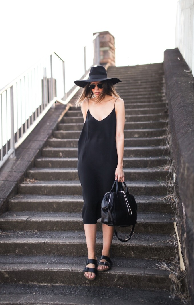 black slip dress birkenstocks sandals summer