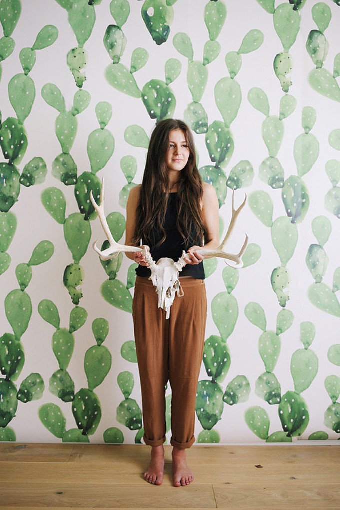 cactus-watercolor-wall-art-wallpaper-mural