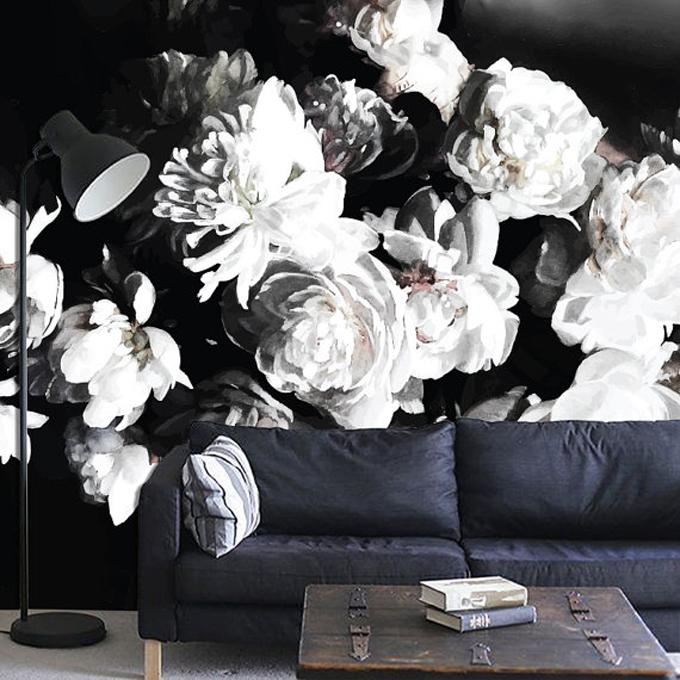 dark-black-floral-wall-art-wallpaper-mural-watercolor