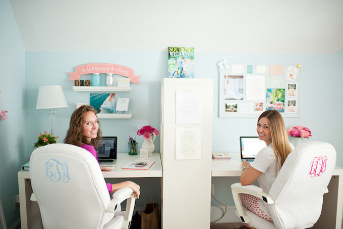 monogrammed-office-desk-chairs---southern-weddings-office---diy