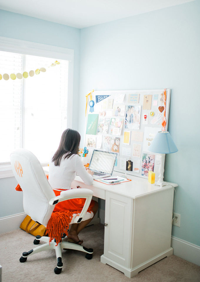 Monogram DIY Office Chairs by NC blogger Glitter, Inc.