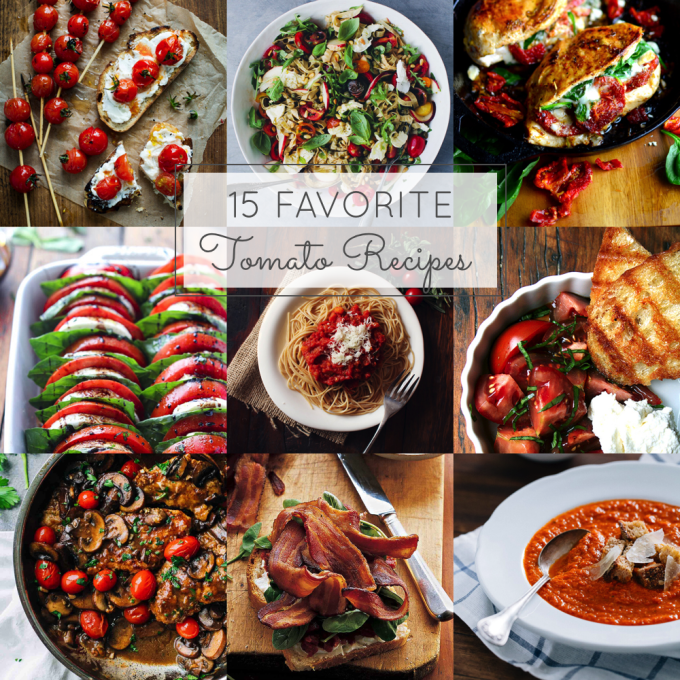 Love tomatoes? Here are 15 of my favorite tomato recipes using the best of summer tomatoes. #tomatoes #tomatorecipes | glitterinc.com | @glitterinc