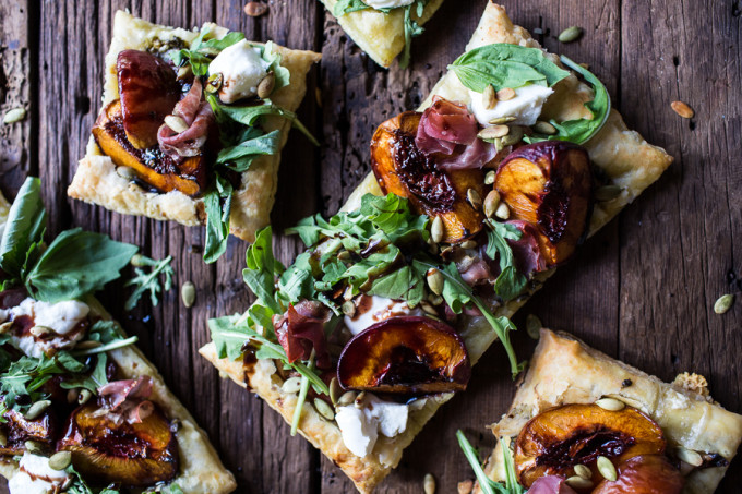 22 Favorite Ways to Use Puff Pastry: Balsamic Roasted Peach Basil Chicken and Prosciutto Tarts