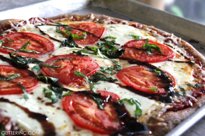 Caprese Whole Wheat Pizza Homemade with Blasamic Glaze Basil Mozarella