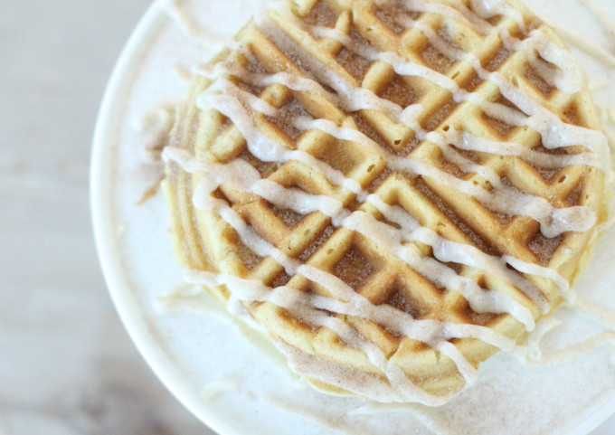 Cinnamon-Roll-Cake-Mix-Waffles-with-Vanilla-Frosting-Drizzle---glitterinc.com
