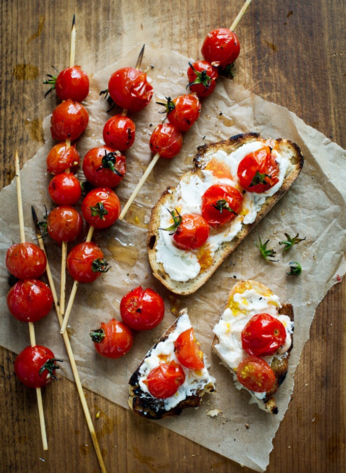 Grilled Tomato Lollipop Skewers on Toast
