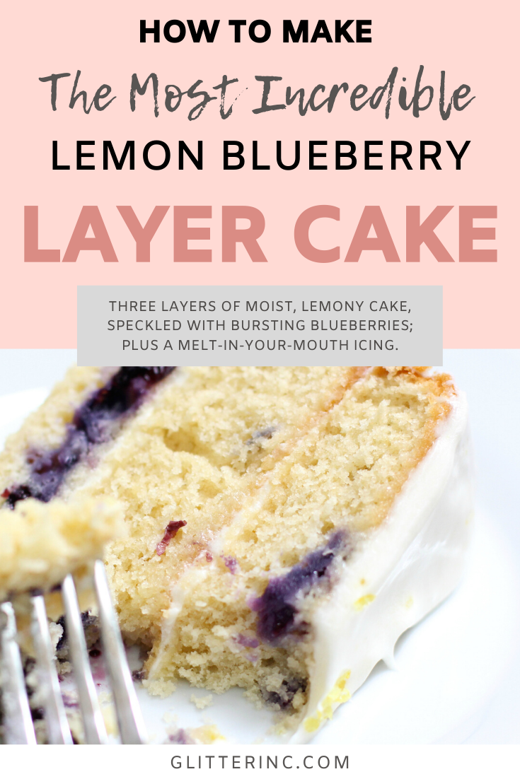 Say hello to the most amazing Lemon Blueberry Layer Cake. Three layers of moist, lemony cake, speckled with bursting blueberries; filled and topped with a melt-in-your-mouth icing. This is a ridiculously decadent cake that tastes light and sweet all at the same time. Click through for the recipe. | glitterinc.com | @glitterinc