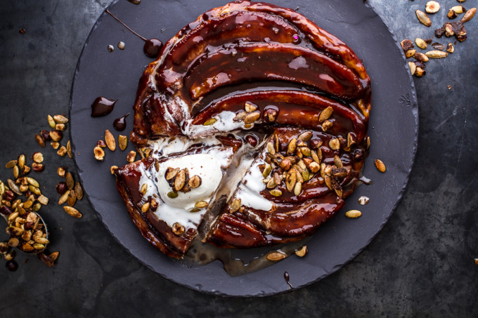 22 Favorite Ways to Use Puff Pastry: Nutella Banana Tarte Tatin with Cinnamon-Sugar Roasted Pumpkin Seed and Hazelnut Crunch