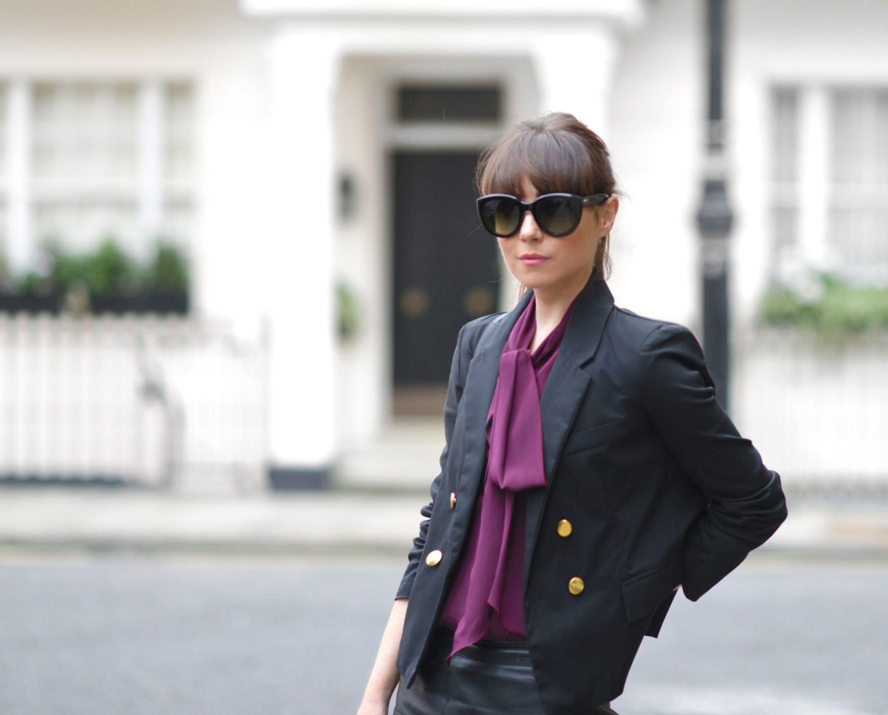 Purple Feminine Pussy Bow Blouse and Blazer - Streetstyle