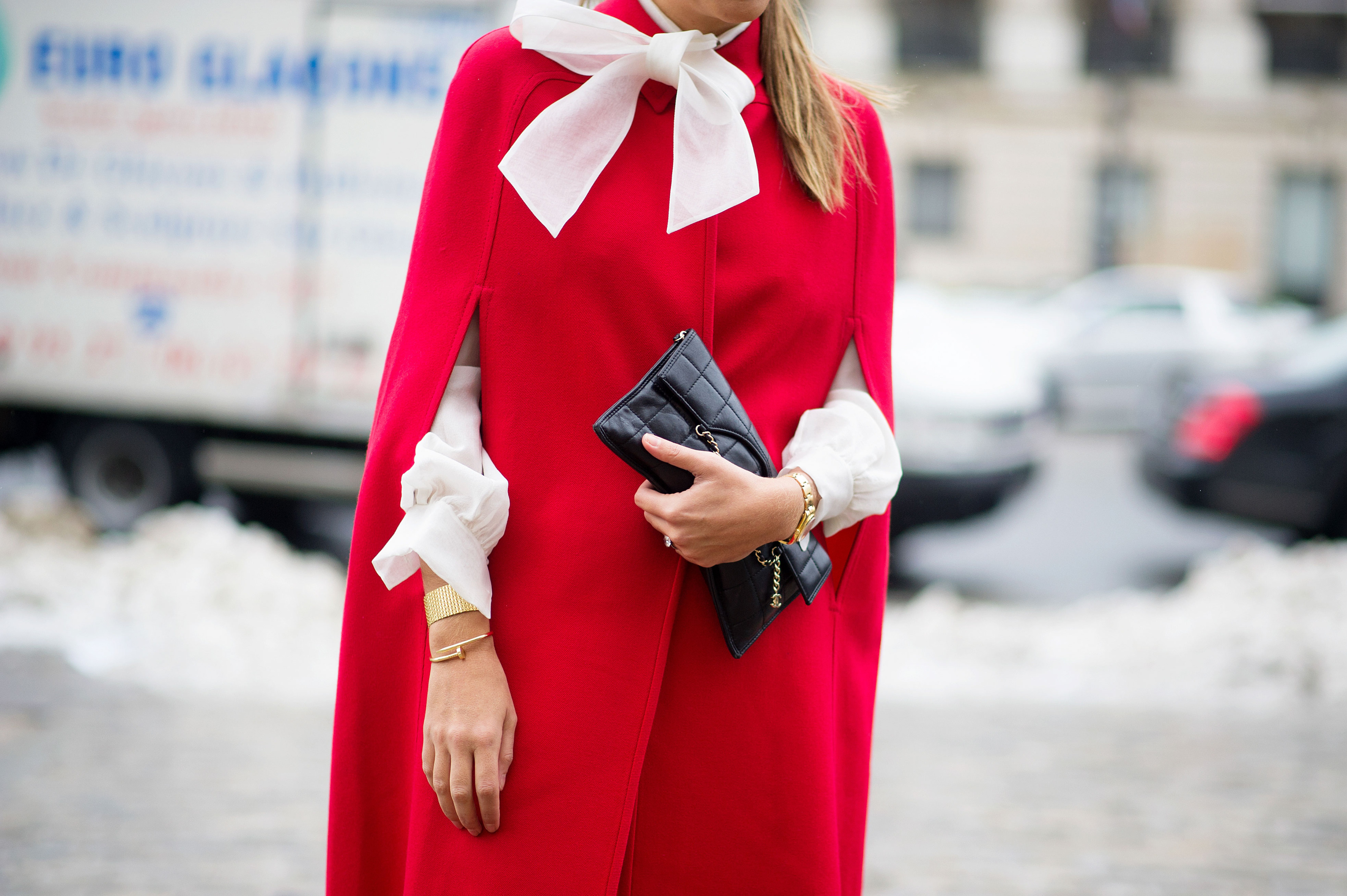 Red Coat and Cream Blouse with Pussy Bow - Feminine Bow Tie