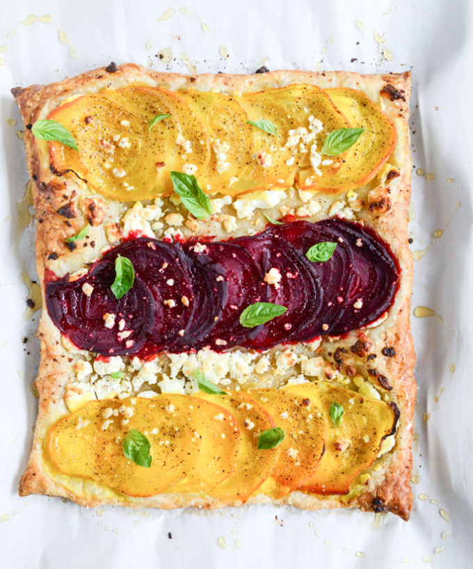 22 Favorite Ways to Use Puff Pastry: Roasted Beet, Goat Cheese and Honey Drizzled Tarts
