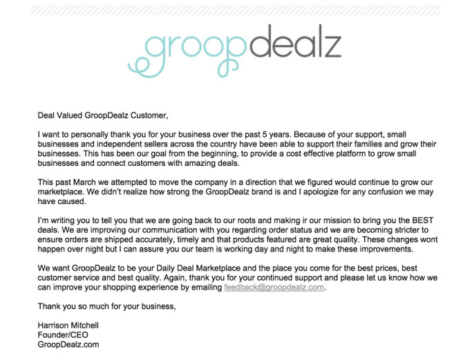 The-Business-of-Blogging---Knowing-When-to-Go-Back-to-Basics---groopdealz-customer-e-mail