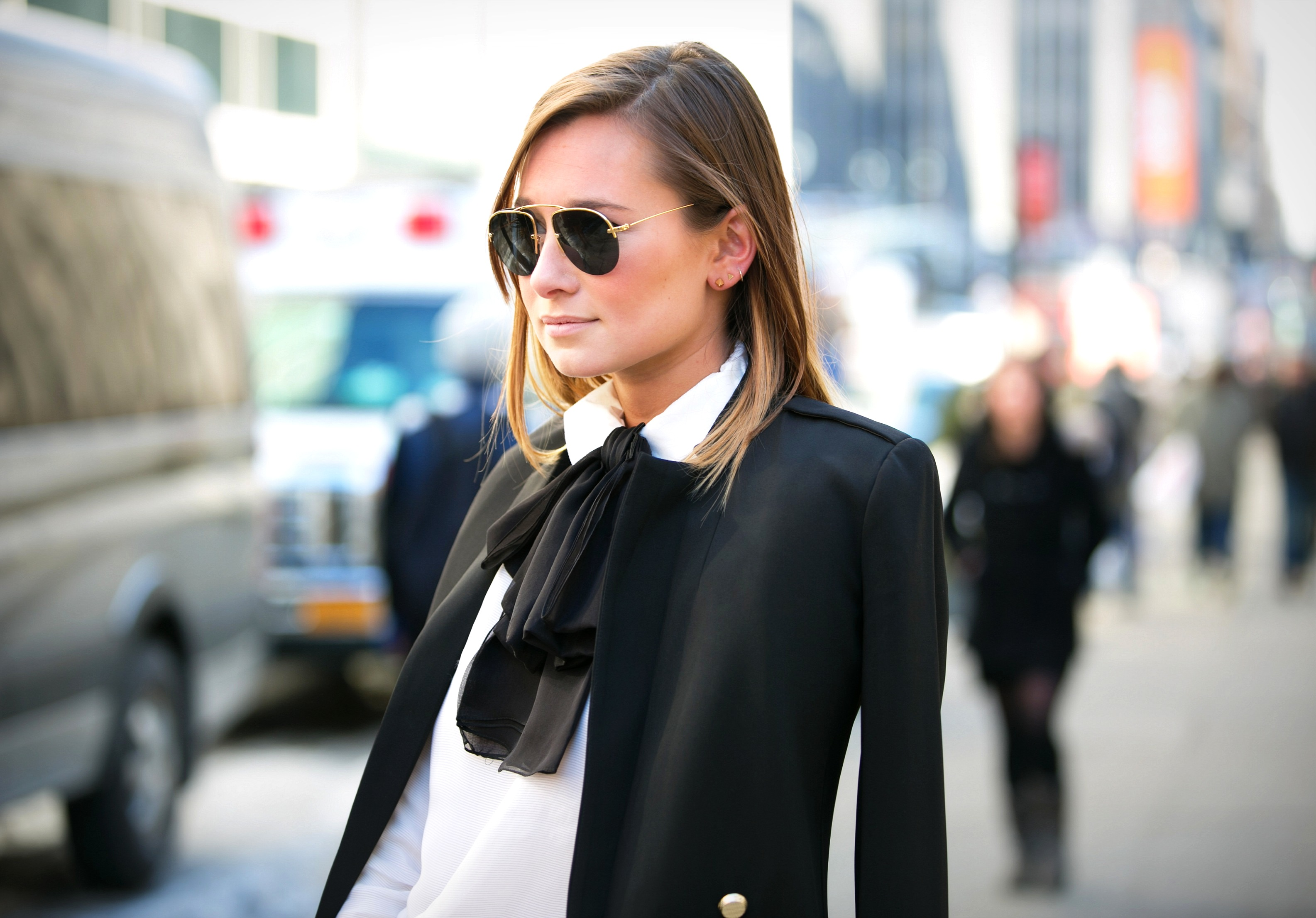 feminine bow tie in black - fashion week - saint-laurent