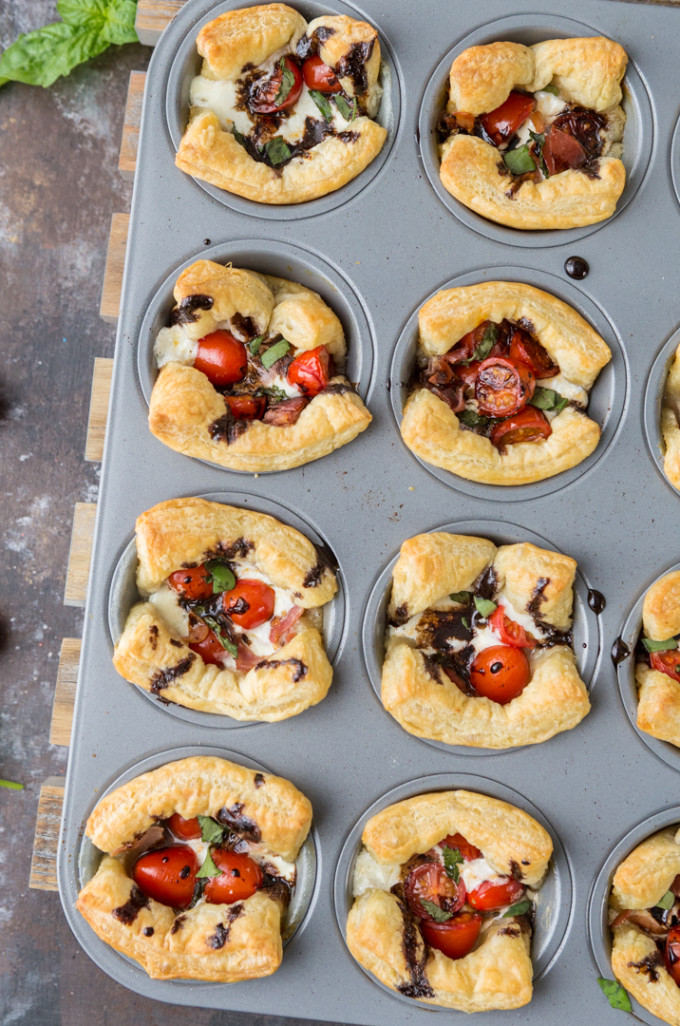 22 Favorite Ways to Use Puff Pastry: Puff Pastry Caprese Cups