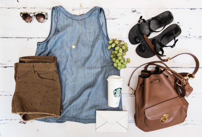 summer style flat lay purse chambray starbucks grapes - fashion blogger