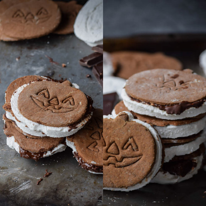 Chocolate Jack-O-Lantern Graham S'mores with Homemade Marshmallows - Perfect for Halloween!